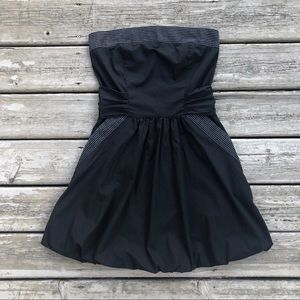Strapless Black Fit & Flare Dress w Pockets & Bow